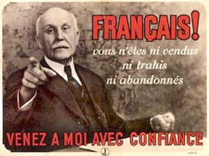 Cartaz: Pétain procura obter a adesão dos franceses à sua política de colaboração durante a 2ªGuerra.