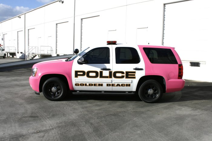 Golden Beach Police Dept Breast Cancer Car Wrap